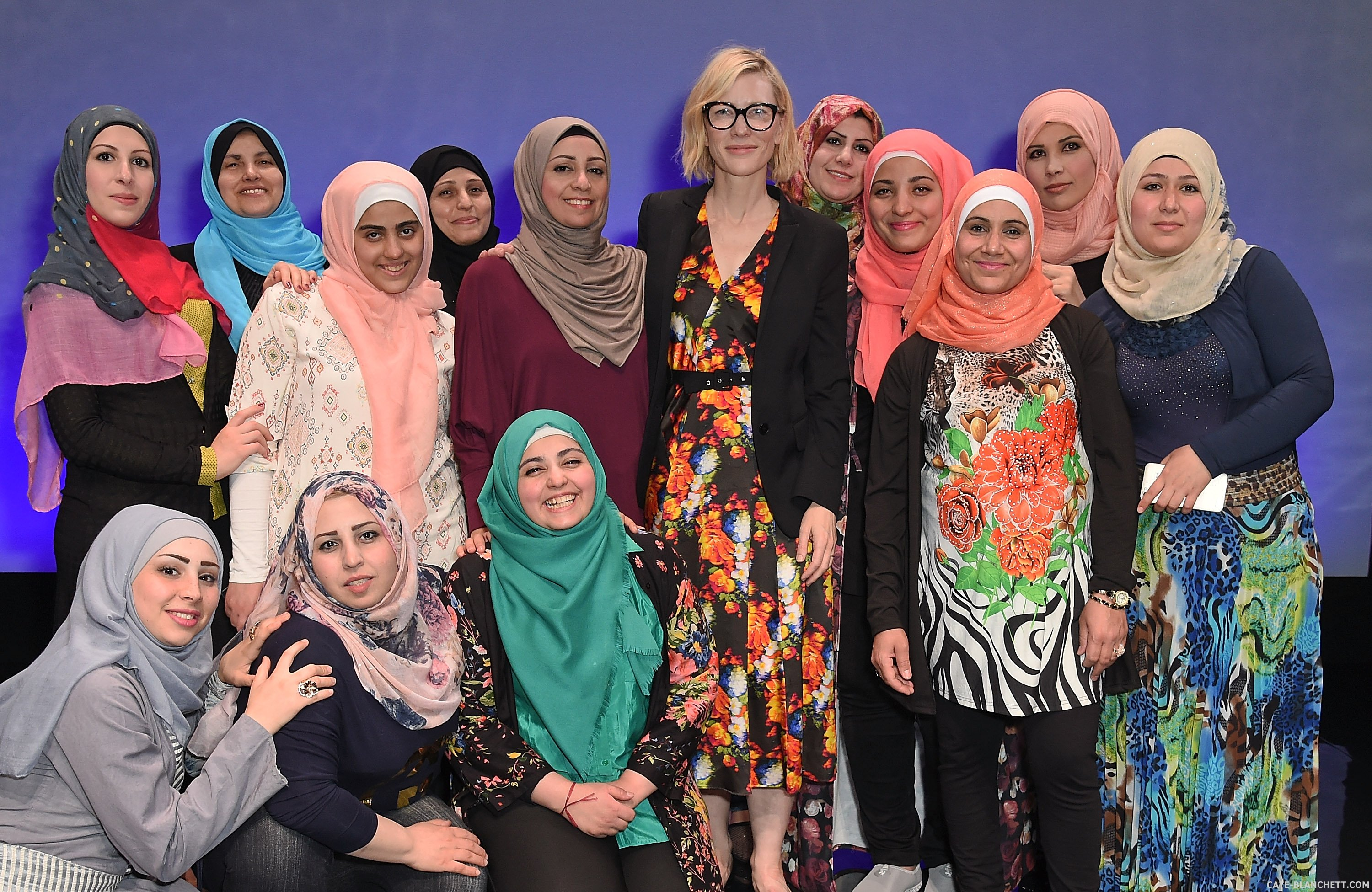 "Cate Blanchett visits the cast of ""Queens Of Syria"" at the Young Vic"