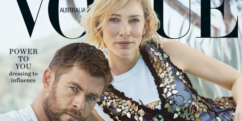 Cate Blanchett & Chris Hemsworth on the cover of the November 2017 issue of Vogue Australia