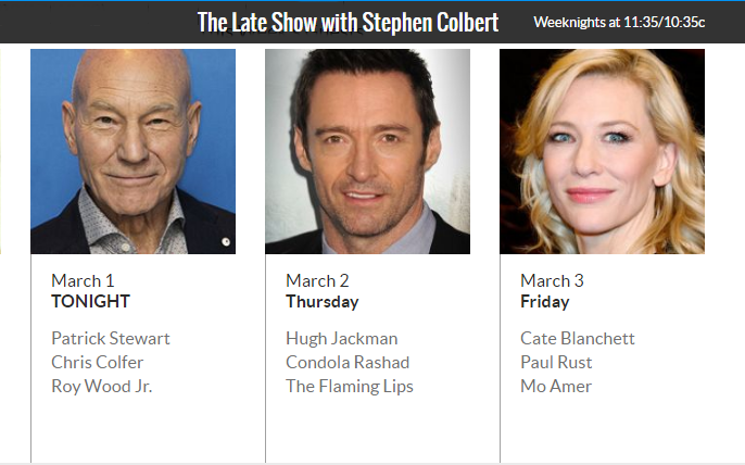 Cate Blanchett to appear on The Late Show with Stephen Colbert – March 3