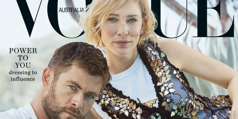 Cate Blanchett & Chris Hemsworth on the cover of the November 2017 issue of Vogue Australia