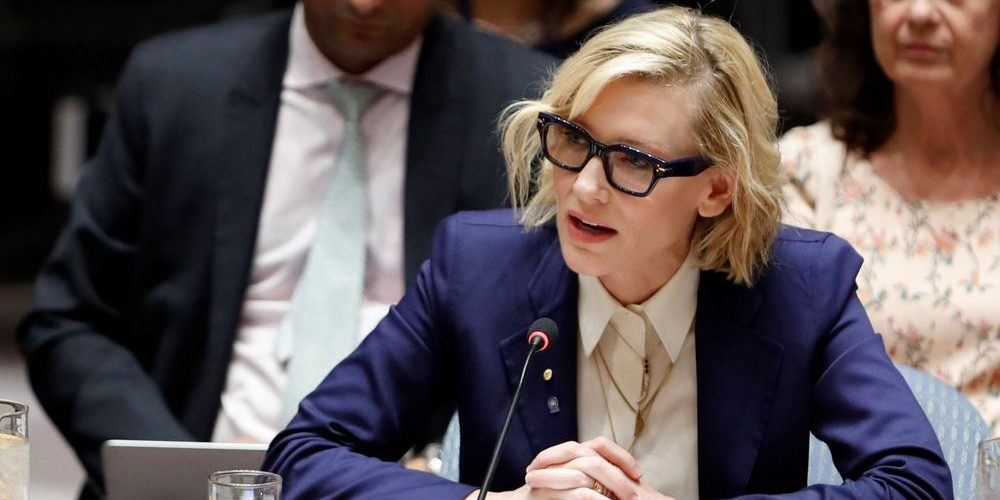 Cate Blanchett UNHCR Goodwill Ambassador addresses the Refugee Crisis during the Security Council meeting